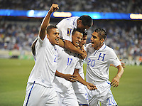 Marvin Antonio (17) of Honduras celebrates his score with teammates.  Honduras defeated Haiti 2-0 in the first round of the CONCACAF Gold Cup, at Red Bull Arena, Monday July 8 , 2013.