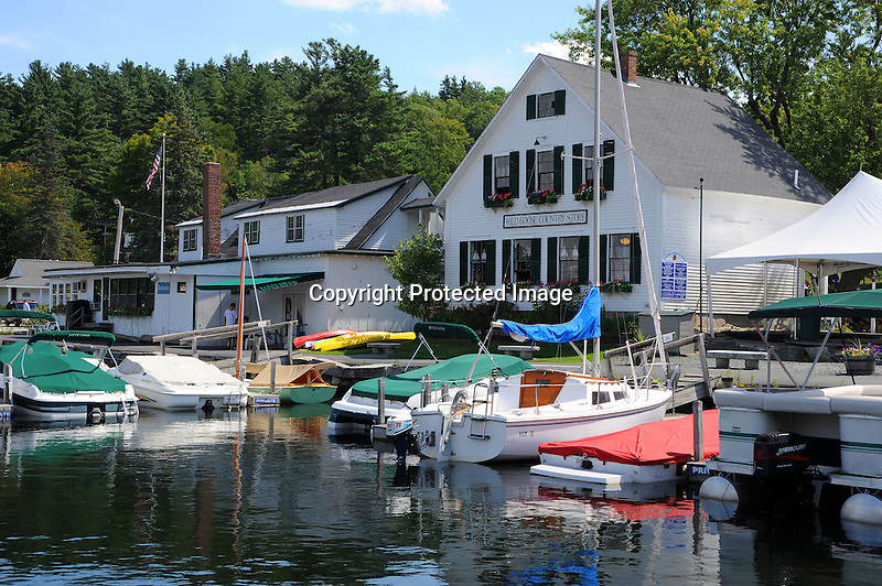 Boats in the harbor in Sunapee, New Hampshire USA