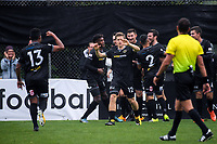 Team Wellington players celebrate Ross Allen's goal during the Oceania Football Championship final (first leg) football match between Team Wellington and Lautoka FC at David Farrington Park in Wellington, New Zealand on Sunday, 13 May 2018. Photo: Dave Lintott / lintottphoto.co.nz