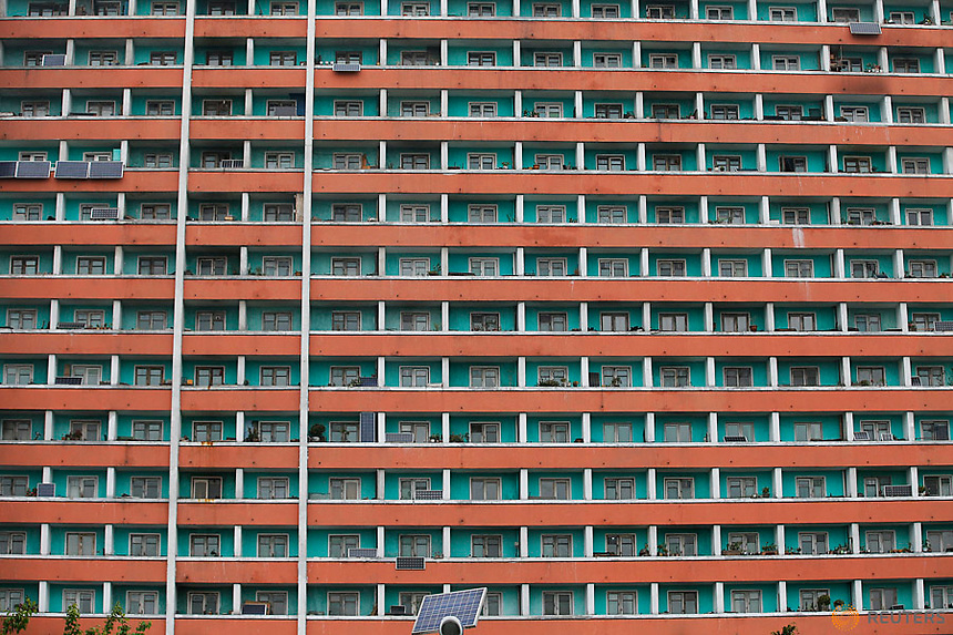 Solar panels are seen installed on a residential building in central Pyongyang, North Korea May 6, 2016.  REUTERS/Damir Sagolj
