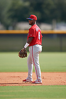 GCL Phillies East shortstop Brayan Gonzalez (6) during a Gulf Coast League game against the GCL Yankees East on July 31, 2019 at Yankees Minor League Complex in Tampa, Florida.  GCL Yankees East defeated the GCL Phillies East 11-0 in the first game of a doubleheader.  (Mike Janes/Four Seam Images)