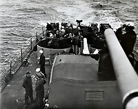 Crew of the USS Shangri-La on the stern  (back of the carrier) in Japanese waters after the end of the war.  -  Sept. 8, 1945<br /> <br /> Photo by R.A. Voeltz