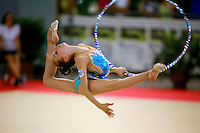 Martina Alicata of Italy split leaps with hoop during junior All-Around competition at 2006 Trofeo Cariprato in Prato, Italy on June 17, 2006.  (Photo by Tom Theobald)