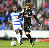 30th September 2017, Madejski Stadium, Reading, England; EFL Championship football, Reading versus Norwich City; James Maddison of Norwich City takes a shot at goal
