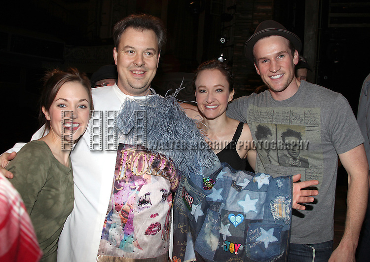 'Bonnie & Clyde' Gypsy Recepient Tad Wilson with Laura Osnes, Melissa Van Der Schyff, Claybourne Elder & Company.attending the Opening Night Gypsy Robe Ceremony for.'Bonnie & Clyde' at the Gerard Schoenfeld Theatre in New York City.