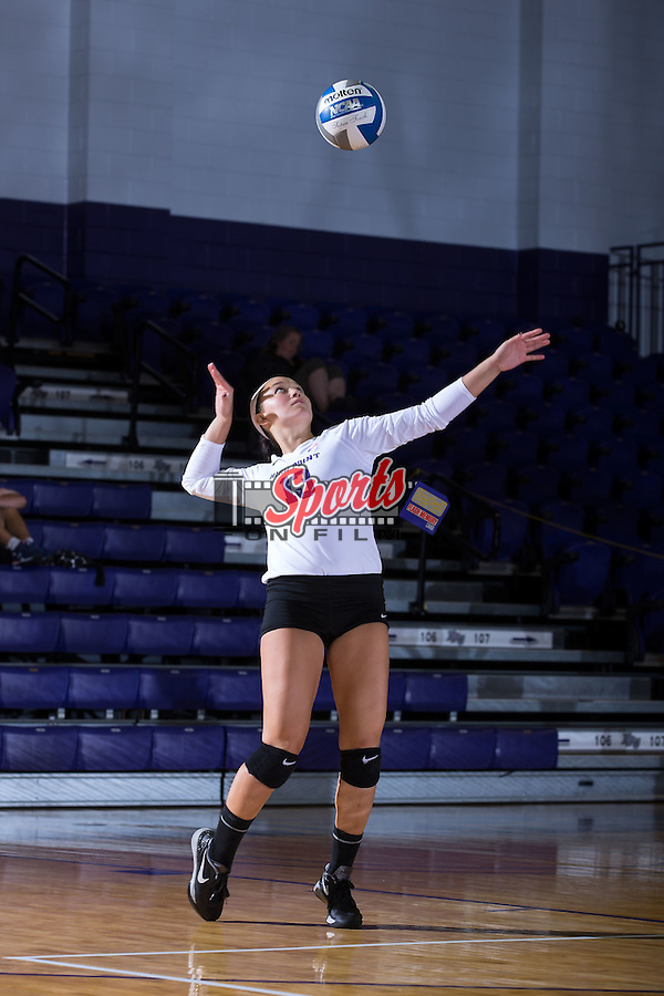 Wavie Chin (13) of the High Point Panthers serves against the Wake Forest Demon Deacons at the Panther Invitational at the Millis Athletic Center on September 12, 2015 in High Point, North Carolina.  The Demon Deacons defeated the Panthers 3-1.   (Brian Westerholt/Sports On Film)