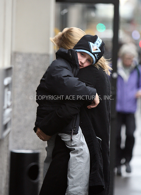 WWW.ACEPIXS.COM ** ** ** ....**EXCLUSIVE TO ACE PICTURES - PLEASE PHONE PHILIP VAUGHAN FOR USAGE RATES**....February 6 2008, New York City....Uma Thurman and her son Levon Roan spotted in Manhattan. Thurman is expected to appear in court this month at the trial of Jack Jordan, 36, who faces charges of stalking and harassing the movie actress.....Please byline: Philip Vaughan -- ACEPIXS.COM.. *** ***  ..Ace Pictures, Inc:  ..tel: (646) 769 0430..e-mail: info@acepixs.com..web: http://www.acepixs.com