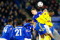 4th March 2020; King Power Stadium, Leicester, Midlands, England; English FA Cup Football, Leicester City versus Birmingham City; Jonny Evans of Leicester City heads clear at a corner