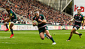 30th September 2017, Welford Road, Leicester, England; Aviva Premiership rugby, Leicester Tigers versus Exeter Chiefs; Tigers wing Nick Malouf runs in for the games first try on 28 minutes