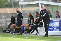 Blackpool's Manager Terry McPhillips shouts instructions to his team from the dug-out <br /> <br /> Photographer Kevin Barnes/CameraSport<br /> <br /> The EFL Sky Bet League One - Plymouth Argyle v Blackpool - Saturday 15th September 2018 - Home Park - Plymouth<br /> <br /> World Copyright &copy; 2018 CameraSport. All rights reserved. 43 Linden Ave. Countesthorpe. Leicester. England. LE8 5PG - Tel: +44 (0) 116 277 4147 - admin@camerasport.com - www.camerasport.com