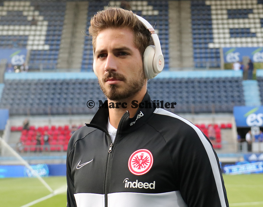 Torwart Kevin Trapp (Eintracht Frankfurt) - 22.08.2019: Racing Straßburg vs. Eintracht Frankfurt, UEFA Europa League, Qualifikation, Commerzbank Arena<br /> DISCLAIMER: DFL regulations prohibit any use of photographs as image sequences and/or quasi-video.