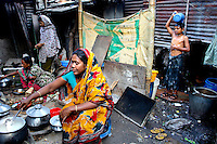 A family live in the Mirpur slum in Dhaka.