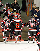 Brittany Esposito (Northeastern - 7), Dani Rylan (Northeastern - 2), Casey Pickett (Northeastern - 14) - The Boston University Terriers defeated the visiting Northeastern University Huskies 3-2 on Saturday, January 28, 2012, at Agganis Arena in Boston, Massachusetts.