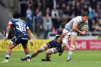 Matt Banahan of Bath Rugby is tackled by Josh Beaumont of Sale Sharks. Aviva Premiership match, between Sale Sharks and Bath Rugby on May 6, 2017 at the AJ Bell Stadium in Manchester, England. Photo by: Patrick Khachfe / Onside Images