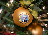 "The 2018 White House Christmas decorations, with the theme ""American Treasures"" which were personally selected by first lady Melania Trump, are previewed for the press in Washington, DC on Monday, November 26, 2018. Detail of one of the ornaments on one of the trees in the White House Library.  <br /> Credit: Ron Sachs / CNP"