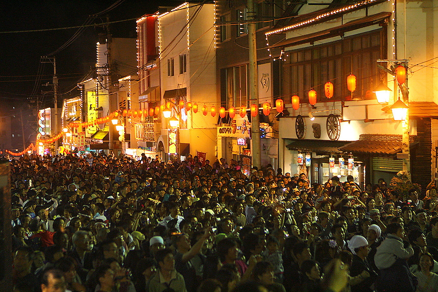 Rivers of people flow up and down the main street at the annual Hades festival is in the spa town of Noboribetsu-onsen, 2 hours SW of Sapporo. For those hesitant about visiting Japan in 2011, a trip to Hokkaido, the northern most of the four islands, is worth considering.  It offers majestic mountains, many national parks, the indigenous Ainu culture, and in late August, the Hades Festival. (Charles Osgood/for the Chicago Tribune) Bxxxxxx.1