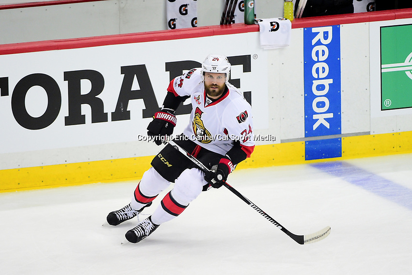 May 21, 2017: Ottawa Senators left wing Viktor Stalberg (24)  warms up before game five of the National Hockey League Eastern Conference Finals between the Ottawa Senators and the Pittsburgh Penguins, held at PPG Paints Arena, in Pittsburgh, PA. Pittsburgh shuts out Ottawa 7-0 to lead the series 3-2.  Eric Canha/CSM