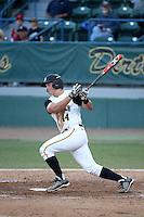 Luke Rasmussen (44) of the Cal State Long Beach Dirtbags bats against the UC Santa Barbara Gauchos at Blair Field on April 1, 2016 in Long Beach, California. UC Santa Barbara defeated Cal State Long Beach, 4-3. (Larry Goren/Four Seam Images)