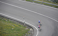 Dutch Champion Dylan Groenewegen (NLD/LottoNL-Jumbo) & Yukiya Arashiro (JAP/Lampre-Merida) descending from the highest point in the 2016 Tour; the Port d'Envalira (Cat1/2408m/22.6km at 5.5%)<br /> <br /> stage 10: Escaldes-Engordany (AND) - Revel (FR)<br /> 103rd Tour de France 2016