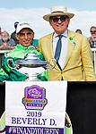 August 10, 2019: Peter Brant, owner of Sistercharlie (IRE), and jockey John Velazquez after winning the Beverly D Stakes (G1) at Arlington Park on August 10, 2019 in Arlington Heights, IL. Jessica Morgan/ESW/CSM