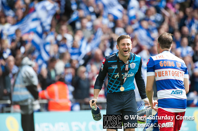 Queens Park Rangers 1 Derby County 0, 24/05/2014. Wembley Stadium, Championship Play Off Final. Robert Green celebrates after the Championship Play-Off Final between Queens Park Rangers and Derby County from Wembley Stadium.  Photo by Simon Gill.