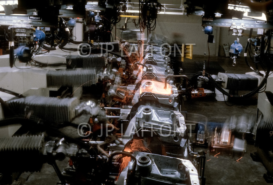 Detroit, U.S.A, December, 1980. Fist assembly line, highly robotized, inside the Ford Rouge Factory. Ford Escort is the first compact car manufactured in the US.