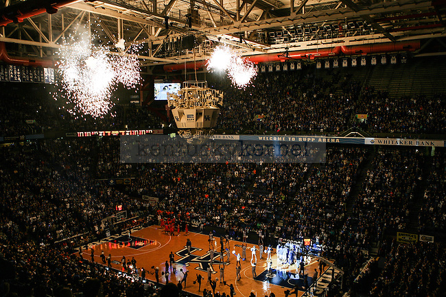 Fireworks explode during the starting lineup announcements before the first half of exhibition game between Kentucky and Pikeville at Rupp Arena on Sunday, November 2, 2014 in Lexington, Ky. Photo by Adam Pennavaria | Staff