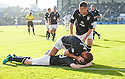 Dundee's Craig Beattie is congratulated after scoring their third goal.