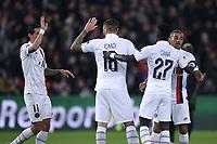 6th November 2019, Paris France; UEFA Champions league football, Paris St German versus Brugges;   11 Angel DI MARIA, ICARDI, Colin DAGBA and IDRISSA GUEYE PSG celebrate their goal in the 21st mninute