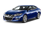 2018 Nissan Maxima SR 4 Door Sedan Angular Front stock photos of front three quarter view