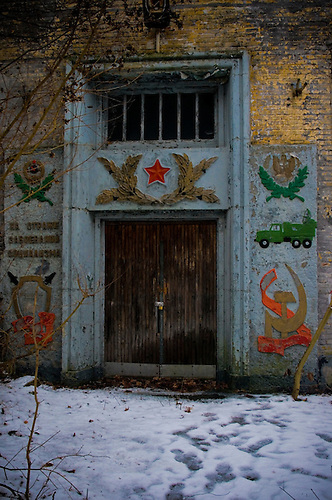 Entrance to old tanks barracks near Berlin, after the war used by the Soviets.
