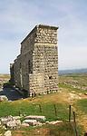 Remains of Roman theatre background stage wall, Acinipo Roman town site Ronda la Vieja, Cadiz province, Spain