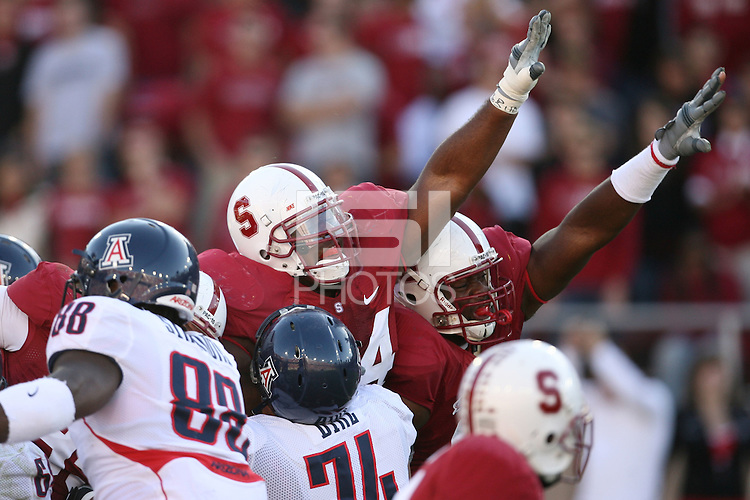 STANFORD, CA - OCTOBER 11:  Ekom Udofia and Pannel Egboh of the Stanford Cardinal during Stanford's 24-23 win over the Arizona Wildcats on October 11, 2008 at Stanford Stadium in Stanford, California.