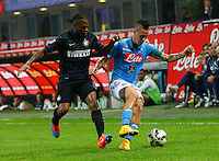 during the Italian serie A   soccer match between SSC Napoli and Inter    at  the San Siro    stadium in Milan  Italy , Octobrr 19 , 2014