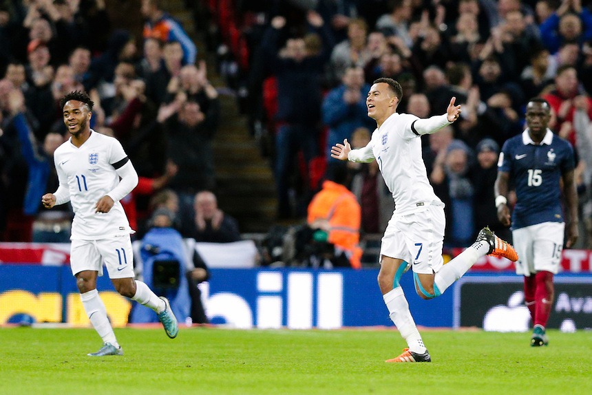England&rsquo;s Dele Alli celebrates scoring the opening goal <br /> <br /> Photographer Craig Mercer/CameraSport<br /> <br /> Football International - England v France - Tuesday 17th November 2015 - Wembley Stadium - London<br /> <br /> &copy; CameraSport - 43 Linden Ave. Countesthorpe. Leicester. England. LE8 5PG - Tel: +44 (0) 116 277 4147 - admin@camerasport.com - www.camerasport.com