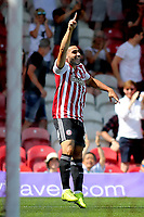 Neal Maupay celebrates scoring Brentford's opening goal during Brentford vs Rotherham United, Sky Bet EFL Championship Football at Griffin Park on 4th August 2018