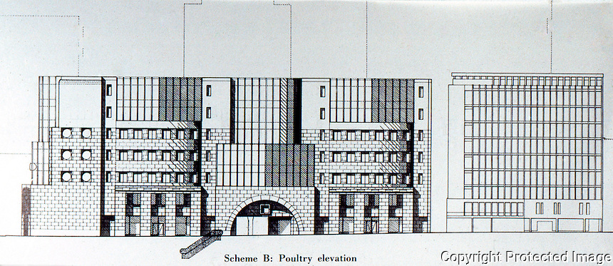 London: No. 1 Poultry, Scheme B, Poultry Elevation. James Stirling, Michael Wilford Assoc.  ARCH. DESIGN 56 5-1986.    Reference only.