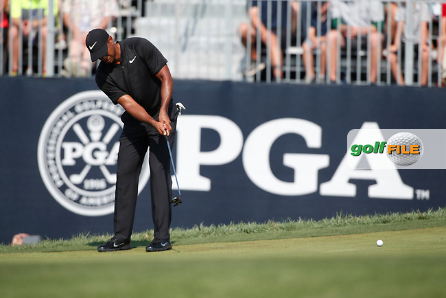 Tiger Woods (USA) putts on the 18th hole during the second round of the 100th PGA Championship at Bellerive Country Club, St. Louis, Missouri, USA. 8/11/2018.<br /> Picture: Golffile.ie | Brian Spurlock<br /> <br /> All photo usage must carry mandatory copyright credit (© Golffile | Brian Spurlock)