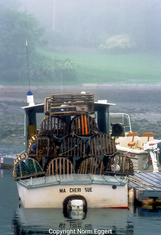 Lobster boat moored in Camden Harbor, Maine