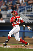 Batavia Muckdogs outfielder John Norwood (23) at bat during a game against the Staten Island Yankees on August 7, 2014 at Dwyer Stadium in Batavia, New York.  Staten Island defeated Batavia 2-1.  (Mike Janes/Four Seam Images)