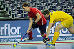 Leipzig, Germany, February 08: Marat Khairullin #3 of Russia dribbles the ball during the placement match (5th / 6th) between Sweden (yellow) and Russia (red) on February 8, 2015 at the FIH Indoor Hockey World Cup at Arena Leipzig in Leipzig, Germany. Final score 1-3 (1-0). (Photo by Dirk Markgraf / www.265-images.com) *** Local caption ***