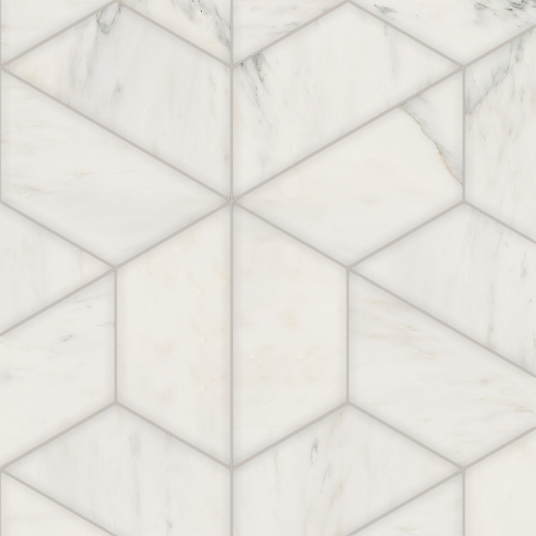 Francois Grandiose, a hand-cut stone mosaic, shown in polished Calacatta Radiance, is part of the Semplice® collection for New Ravenna.