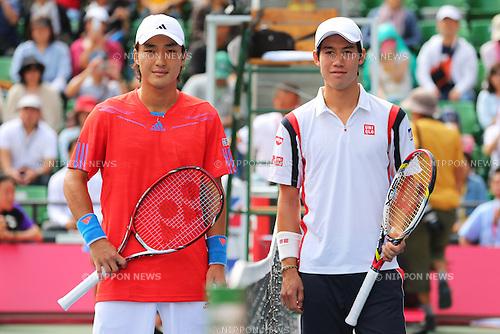 (L to R) Go Soeda (JPN), Kei Nishikori (JPN), .October 2, 2012 - Tennis : .Rakuten Japan Open 2012, Men's Singles 1st Round .at Ariake Colosseum, Tokyo, Japan. .(Photo by Daiju Kitamura/AFLO SPORT) [1045]