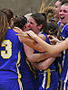 Mattituck varsity girls basketball teammates celebrate after their 48-47 win over Carle Place in the Class B Long Island Championship at SUNY Old Westbury on Monday, March 6, 2017.