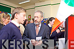 Alex Cahill speaking to Sean Kelly about his project during the Blue Flag Award at St Mary' school, Knocknagoshel on Friday afternoon.
