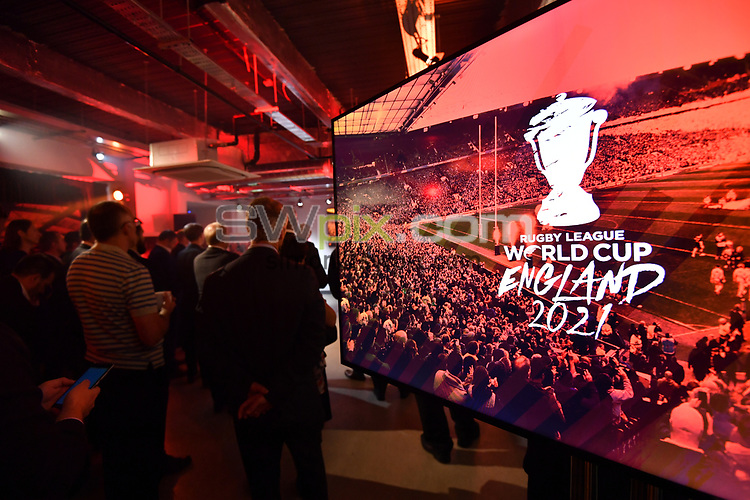 Picture by Simon Wilkinson/SWpix.com - 09/11/2018 - RLWC 2021 Rugby League World Cup 2021 Paul Barrière Trophy - The Cockerel Reveal, Avenue HQ. Leeds<br /> -