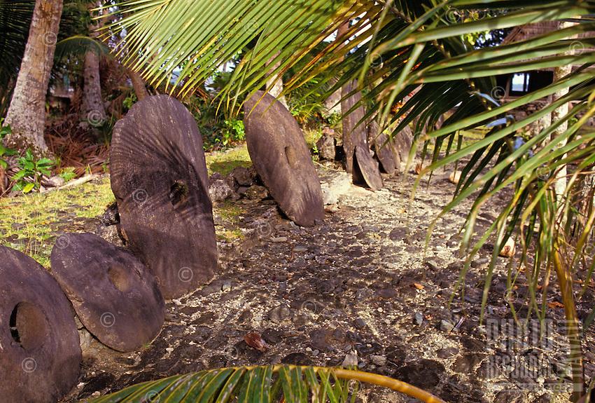 Stone money bank found outside, Yap Micronesia