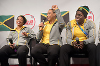 Audra Segree (l-r), Jazmine Fenlator-Victorian and Carrie Russel of the Jamaican women's bobsleigh team smile at a press conference in the Alpensia centre prior to the Winter Olympics in Pyeongchang, South Korea, 9 February 2018. Photo: Tobias Hase/dpa /MediaPunch ***FOR USA ONLY***