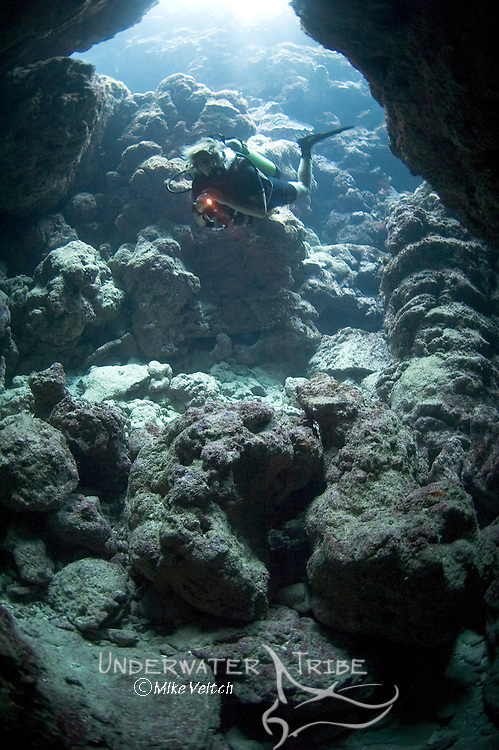 A diver explores a dive site called Yap Caverns, Yap, Micronesia, Pacific Ocean (MR)