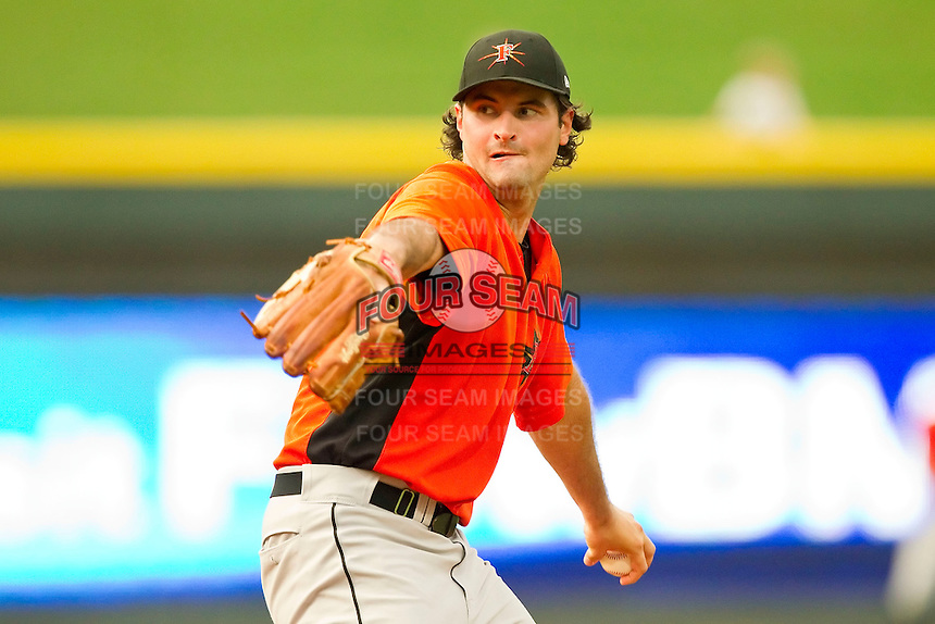 Starting pitcher Nathan Moreau #19 of the Frederick Keys in action against the Winston-Salem Dash at BB&T Ballpark on August 5, 2011 in Winston-Salem, North Carolina.  The Dash defeated the Keys 10-0.   Brian Westerholt / Four Seam Images